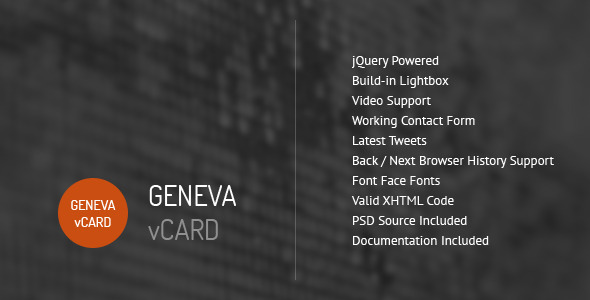 Geneva - Personal vCard Template - Personal Site Templates