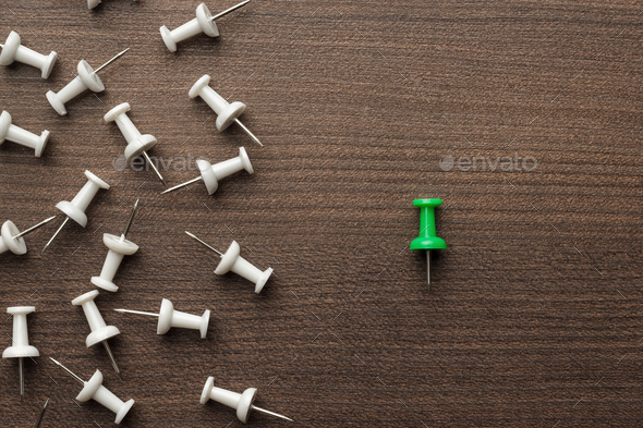 Bright Green Push Pin Out Of The Crowd - Stock Photo - Images