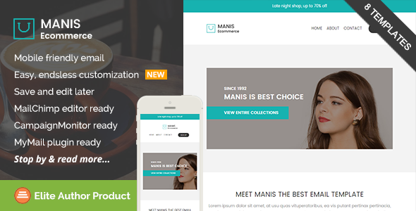 Manis, Ecommerce Email Template + Builder Access - Email Templates Marketing
