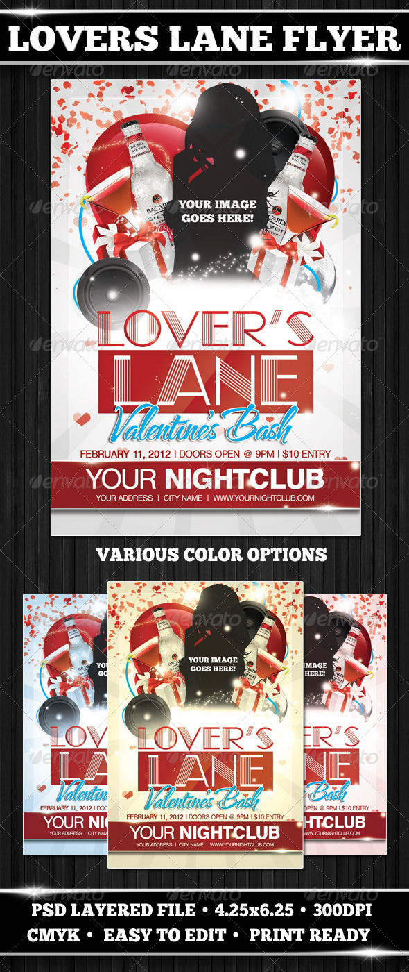 Lover's Lane Flyer Template - Clubs & Parties Events