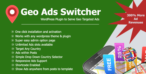 Geo Ads Switcher Plugin: Geo Targeted Ads - CodeCanyon Item for Sale