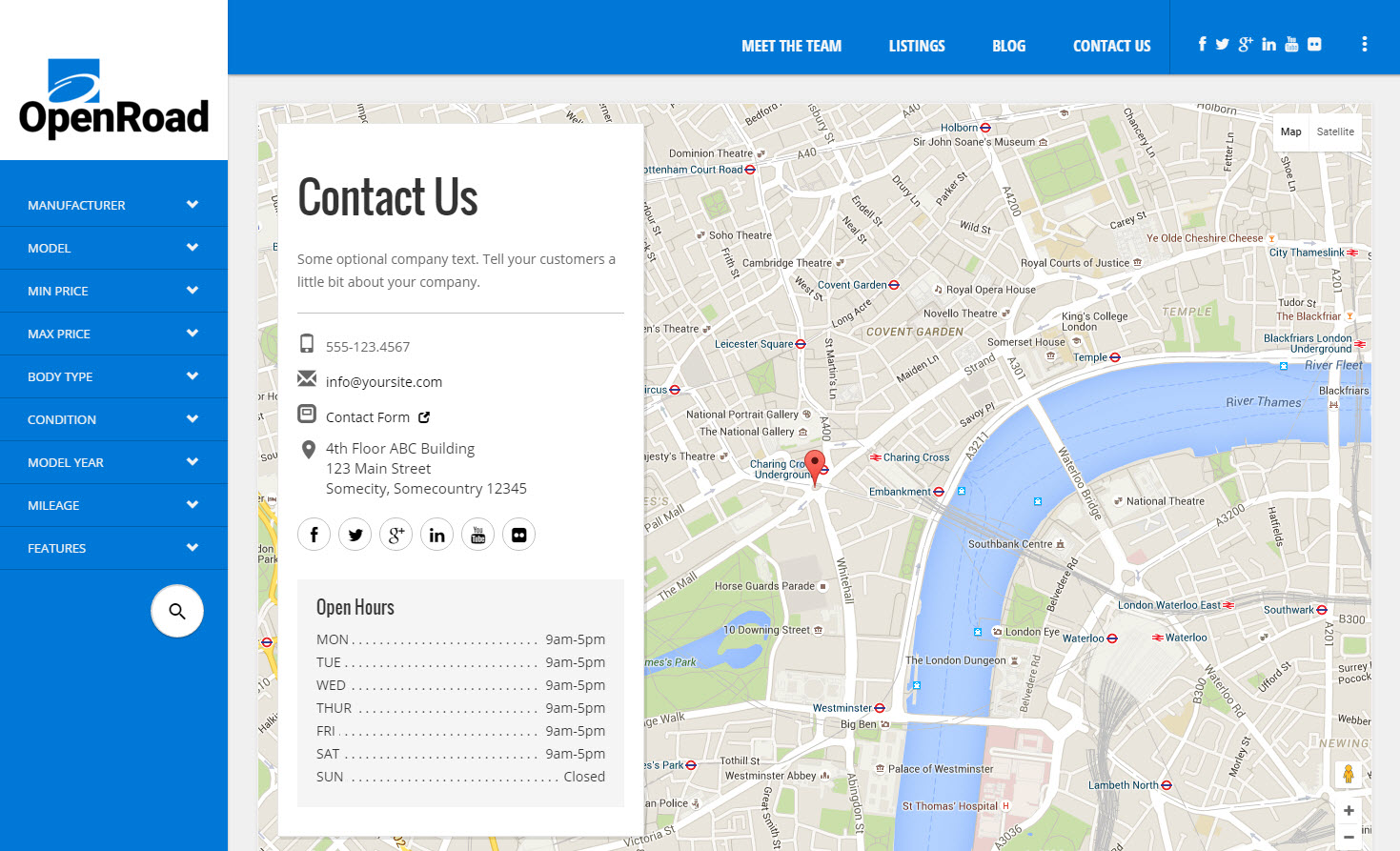 OpenHouse Real Estate And OpenRoad Car Dealer Responsive Material - Bootstrap contact us page with map