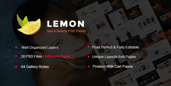 Lemon – Spa and Beauty PSD Template