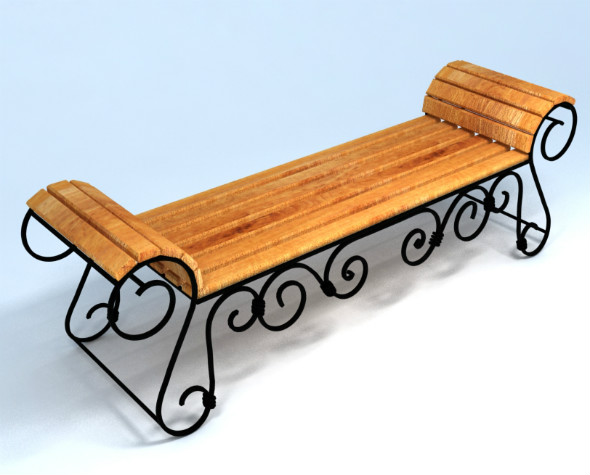 Wrought iron bench - 3DOcean Item for Sale