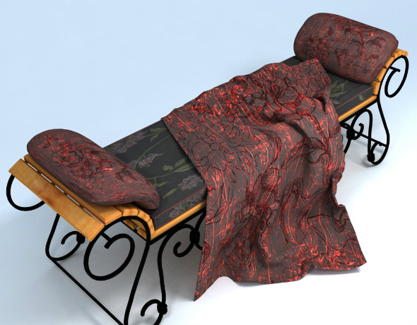 Wrought iron bench and pillow - 3DOcean Item for Sale
