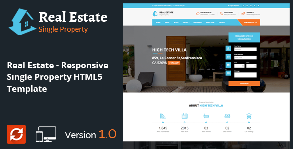 Real Estate – Responsive Single Property HTML5 Template