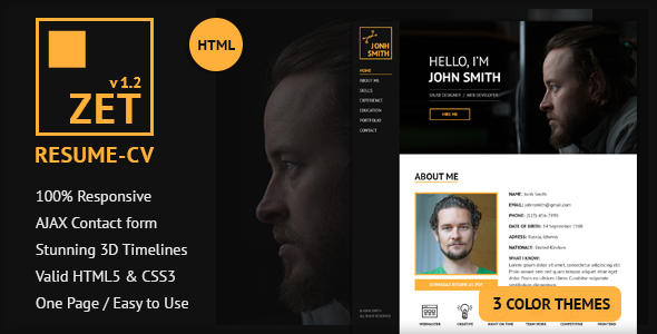 ZET – One Page Resume/Personal Portfolio HTML Template