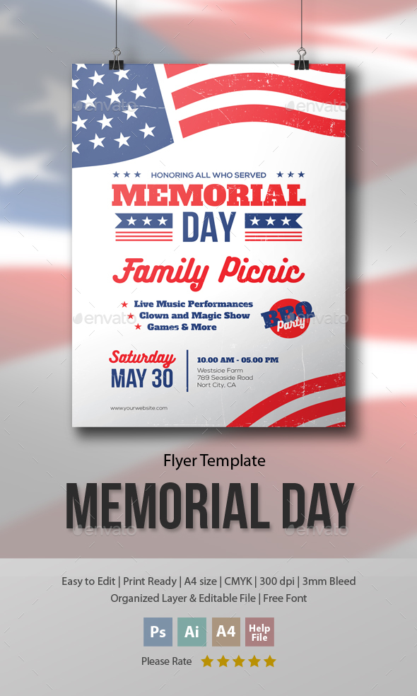 Memorial Day  Family Picnic Flyer Template By MeEnjah  Graphicriver