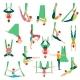 Aero Yoga Decorative Icons Set
