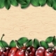 Many Cherries and Leaves on Wooden Background - GraphicRiver Item for Sale