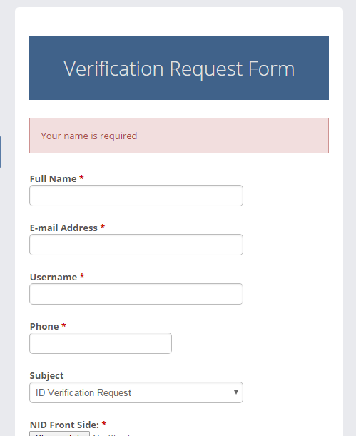Request Form For Verified Badge For Sngine by sarminwd | CodeCanyon