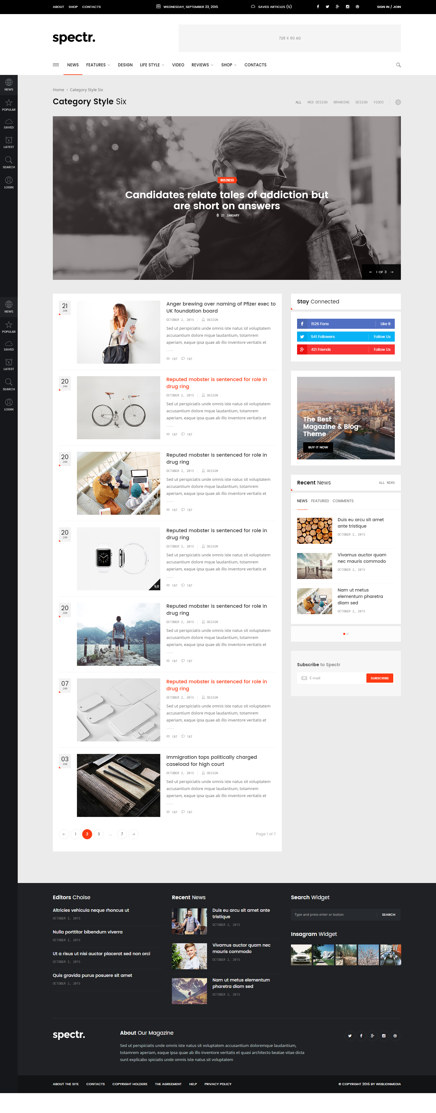 spectr responsive news and magazine template by weblionmedia