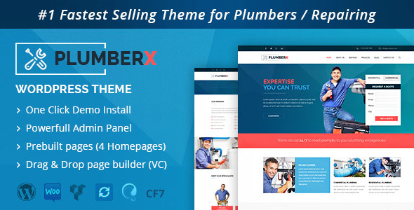 Plumber – Construction and Repairing WordPress Theme