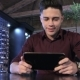 Man Puts a Tablet On The Table At The Restaurant - VideoHive Item for Sale