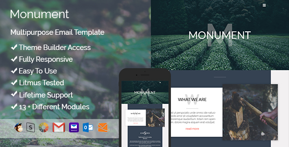 Monument - Responsive Email + StampReady Builder - Email Templates Marketing