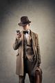 Vintage man using phone