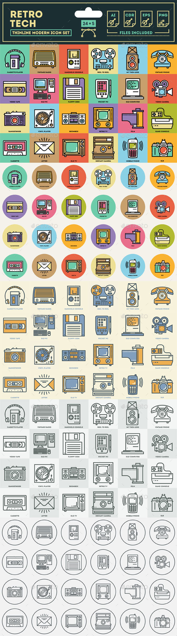 Retro Technology Icon Set - Retro Technology