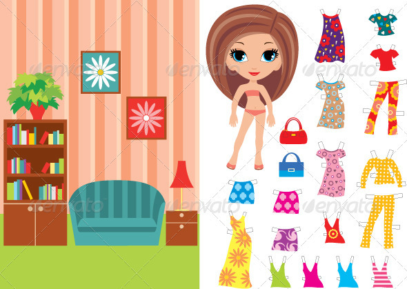 Paper doll with a set of clothes and a room - Objects Vectors