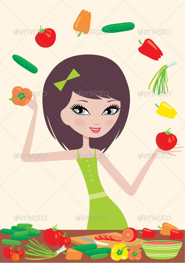 Pretty girl prepares salad - Food Objects