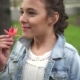 Teen Girl With Red Flower - VideoHive Item for Sale