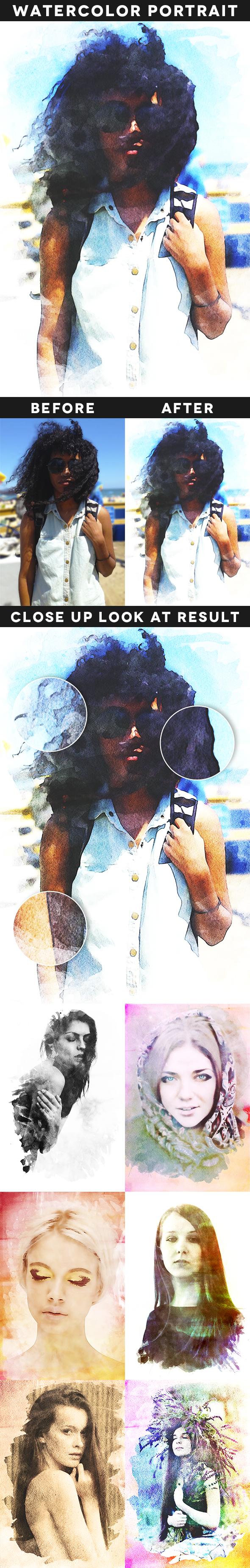 Watercolor Portrait Action - Photo Effects Actions