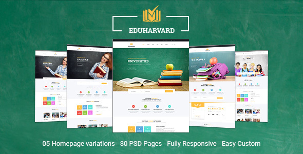 Eduharvard - Multiconcept Education & Courses PSD Template - Business Corporate