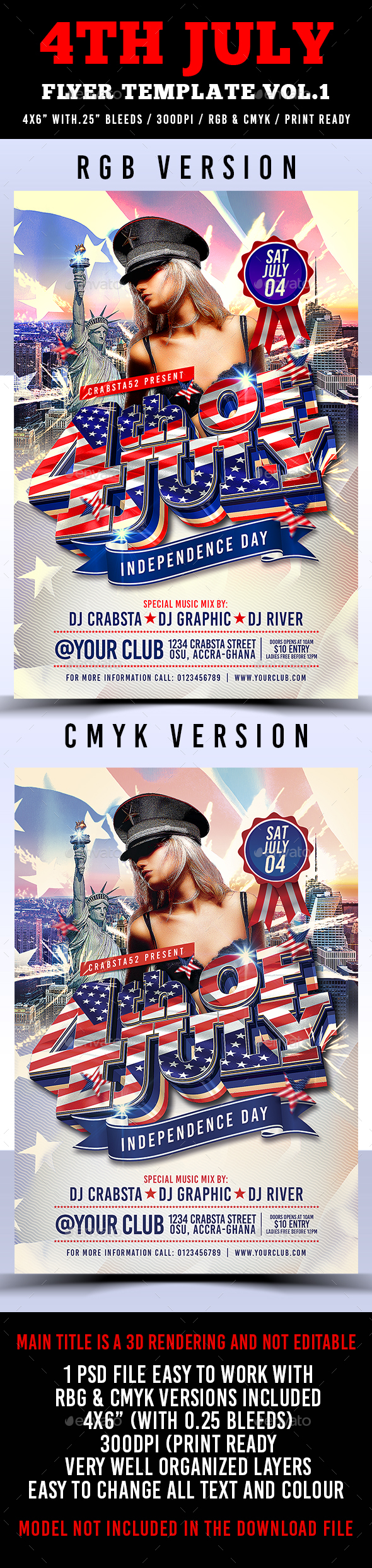 4th of july menu template - 4th july flyer template vol 1 by crabsta52 graphicriver