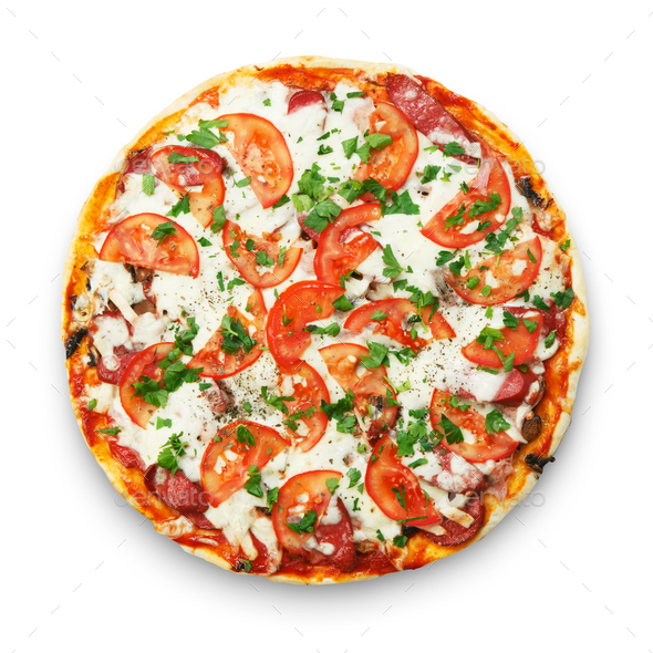 Delicious pizza with mushrooms and smoked chicken - Stock Photo - Images