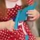 Girl With a Red Bow On Her Head Cut Blue Image. - VideoHive Item for Sale