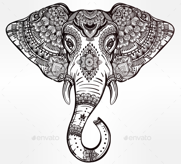 Tribal Vector Elephant With Tribal Ornaments. by itskatjas ...