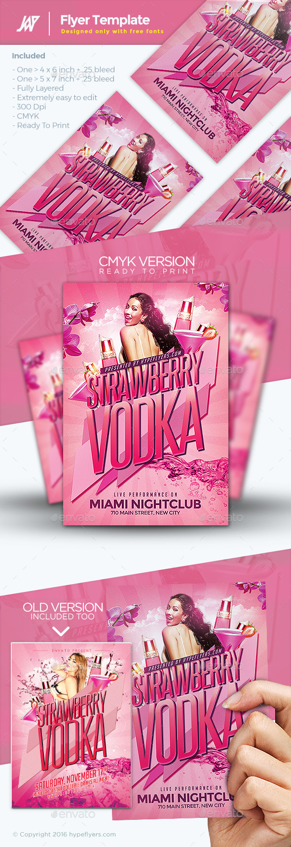 Strawberry Vodka Flyer - Clubs & Parties Events