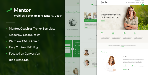 Mentor – Webflow Template for Personal Development Coaches - Webflow CMS Themes