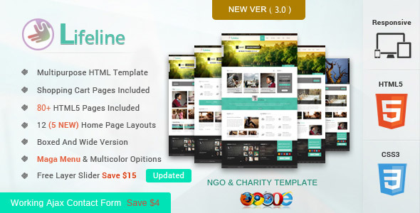 Lifeline NGO and Charity Responsive HTML Template