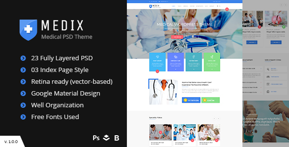 Medix – Medical, Doctor and Health Care PSD Template
