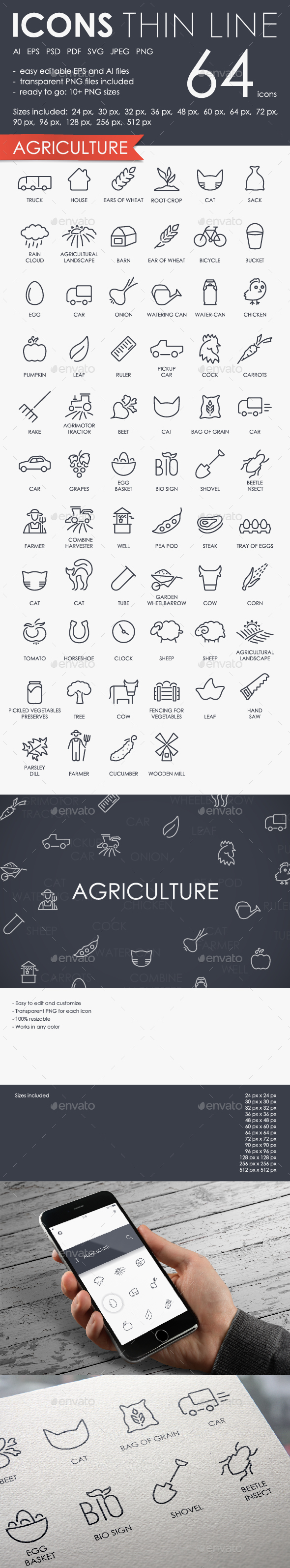 Agriculture thinline icons - Miscellaneous Icons