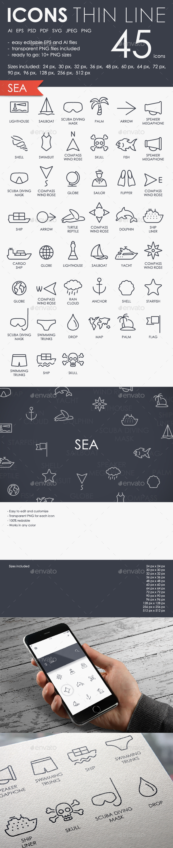 Sea thinline icons - Icons