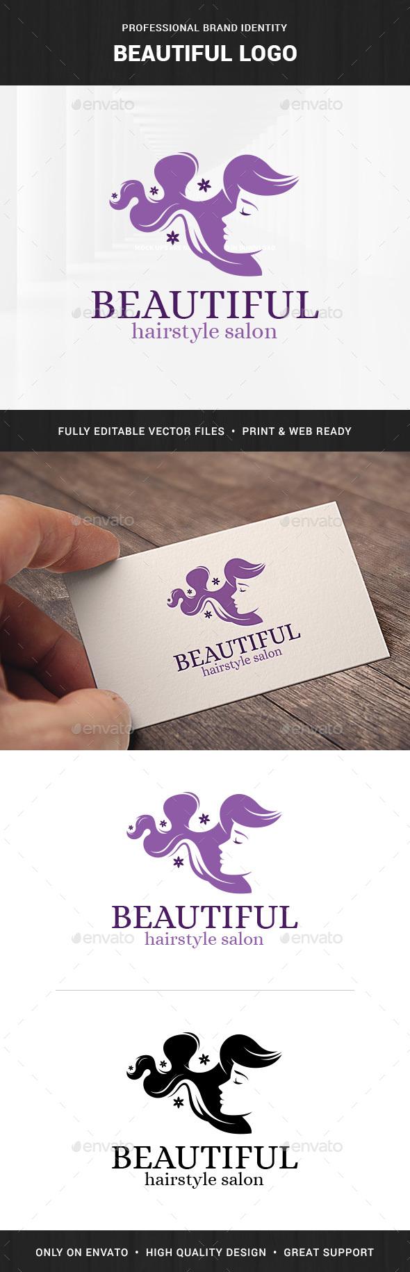 Beautiful - Hair Salon Logo - Humans Logo Templates