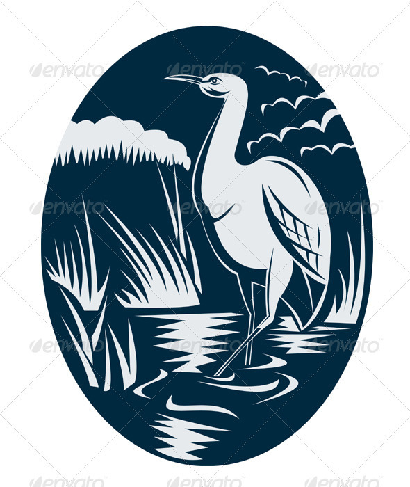 Heron Crane Bird Marsh Retro Woodcut - Animals Characters