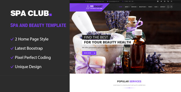 Spa Club- Spa and Beauty Responsive HTML5 Template - Health & Beauty Retail