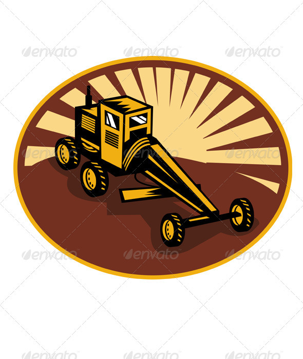 Construction Road Grader Retro - Industries Business