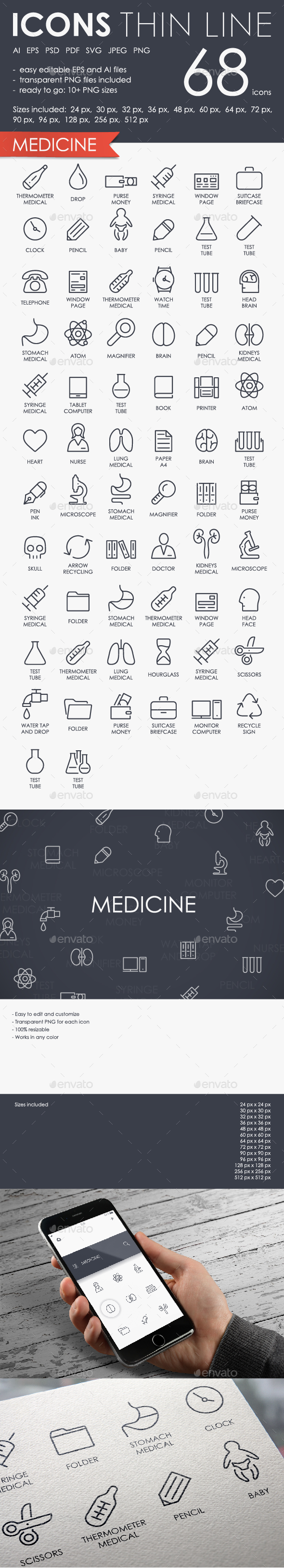 Medicine thinline icons - Icons