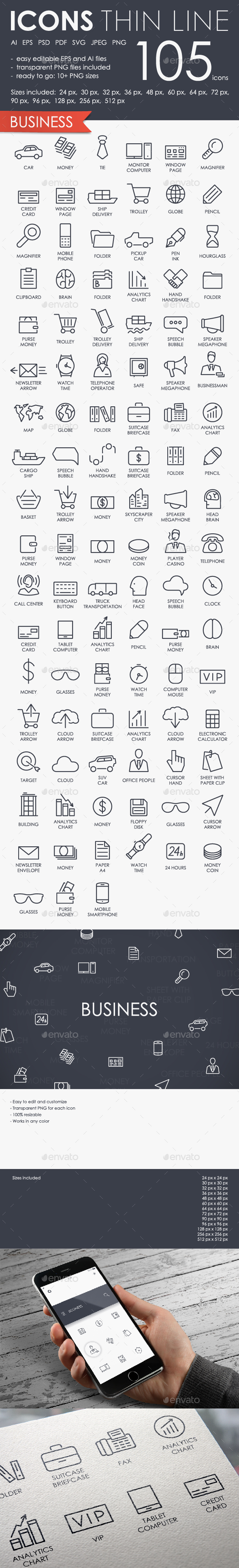 Business thinline icons - Business Icons