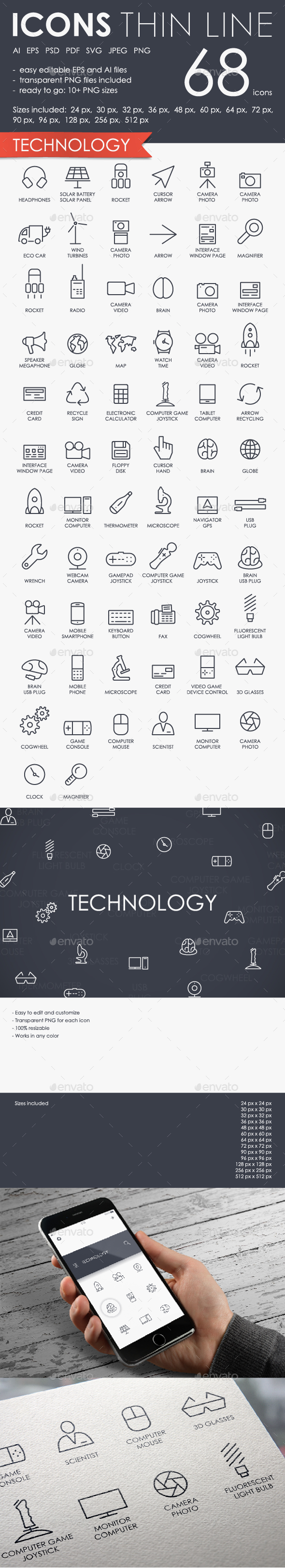 Navigation thinline icons - Technology Icons