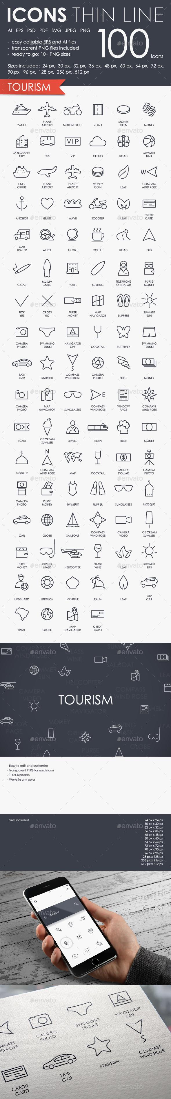 Tourism thinline icons - Seasonal Icons