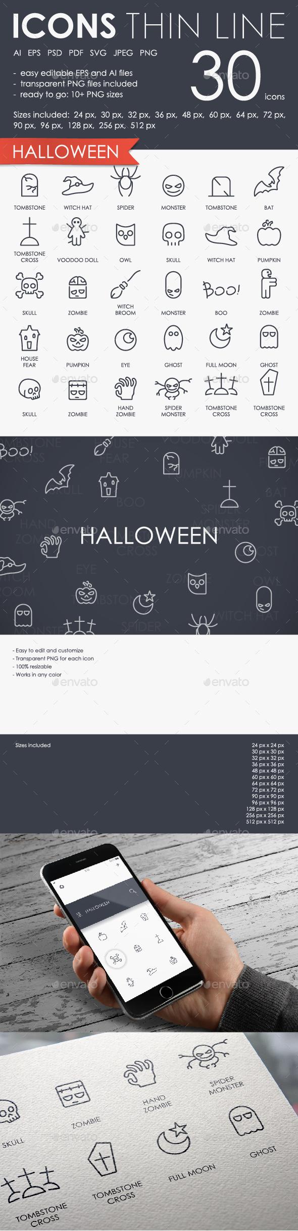 Halloween thinline icons - Seasonal Icons
