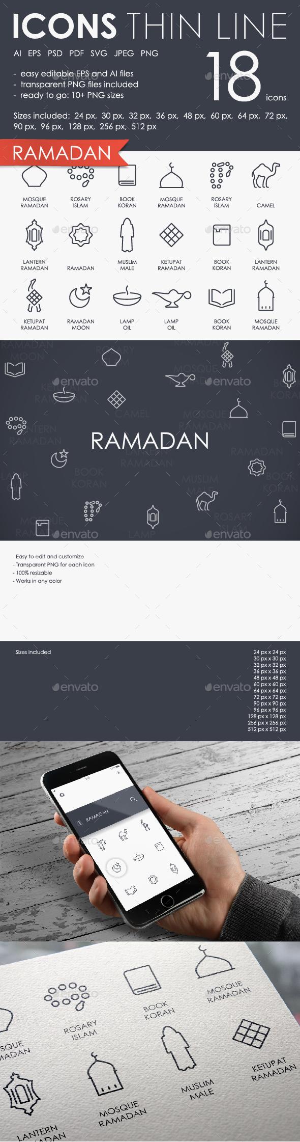 Ramadan thinline icons - Miscellaneous Icons
