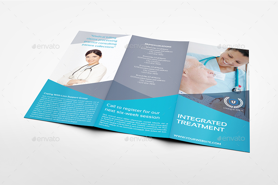 Medical Care TriFold Brochure Template By Owpictures  Graphicriver