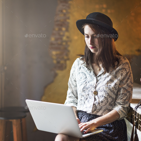 Girl Lady Style Restaurant Leisure Chill Cafe Fun Concept - Stock Photo - Images