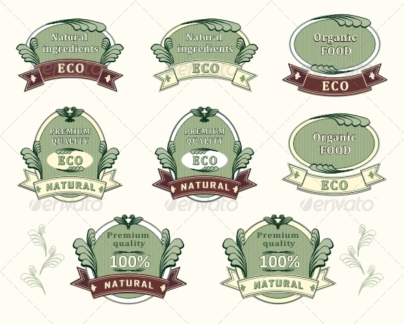 Set quality labels for natural ingredients  - Decorative Symbols Decorative