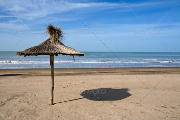 Deserted beach in Argentina - Stock Photo - Images
